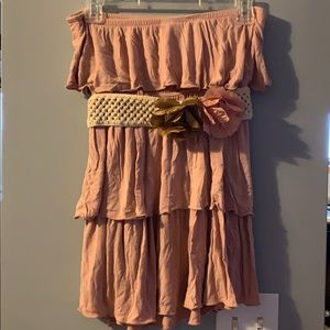 Rue 21 strapless ruffle top with belt